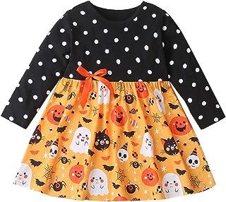 Baby Girls Halloween Outfit Toddler Dot Dress Ghost Pumpkin Print Shirt Fall Winter Clothes