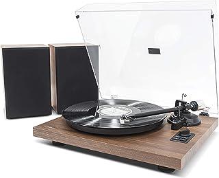 MB-PT-28 Bluetooth Hi-Fi Vinyl Turntable Record Player with 36W Bookshelf Speakers, Supports 33/45 RPM Vinyl Record, Bluet...