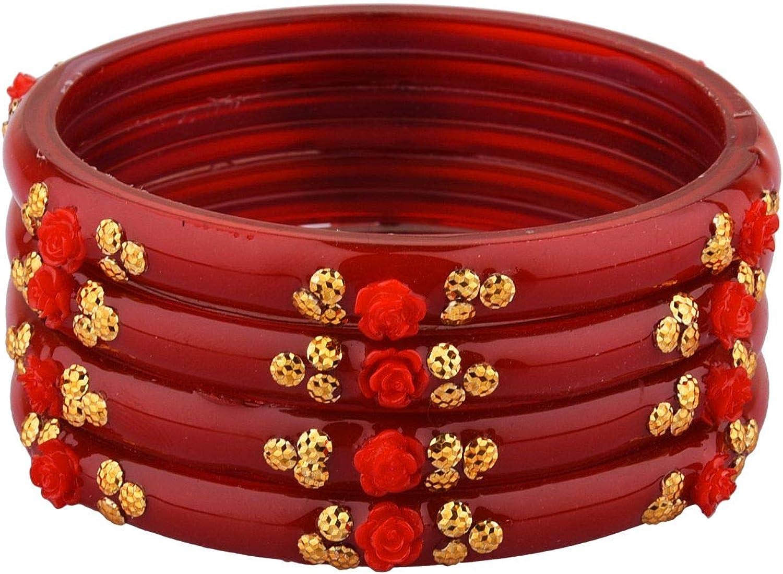 Efulgenz Indian Bangle Set Bollywood Style Acrylic Floral Rose Handmade Bracelet Jewelry Set for Women Girls