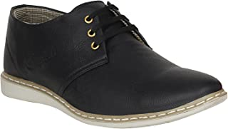 Emosis Men's Sneakers - Synthetic Leather Lace-Up Casual Shoe - for Formal Office Daily Use - Available in Tan Black Brown Colour - 0154M