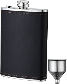 YWQ Flask for Liquor and Funnel,8 Oz Leak Proof Stainless Steel Pocket Hip Flask with Black Leather Cover for Discrete Shot Drinking of Alcohol, Whiskey, Rum and Vodka, Gift for Men