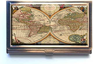 Caikem Intage World Map Custom Personalized Stainless Steel Bronze Business Card Holder Pocket Business Name Credit Card ID Card Wallet