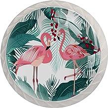 Lade Handgrepen Kabinet Knoppen Ronde Pack van 4 voor kast, lade, borst, dressoir etc. Flamingo bladeren Monstera