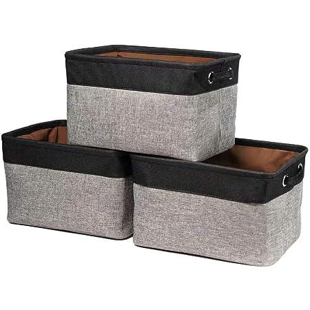 EDATOFLY Lot de 3 Panier de Rangement Tissu, Boîte de Rangement Pliable en Coton de Jute avec Poignée Paniers de Rangement en Toile pour Étagères, Placard, Jouets (Noir&Gris)