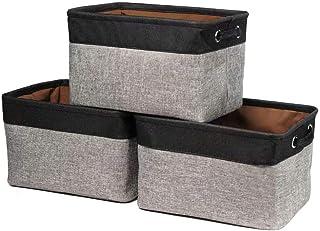 EDATOFLY Lot de 3 Panier de Rangement Tissu, Boîte de Rangement Pliable en Coton de Jute avec Poignée Paniers de Rangement...