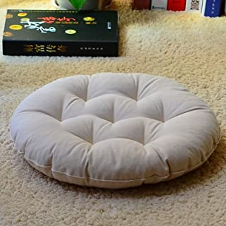 JRMU 19-inch Round Winter Thicked Chair Cushion, Tatami Fabric Quilted Chair Pads Yoga Meditation Seat Cushion for Office Dorm Patio-h 48x8 cm(19x3 in)