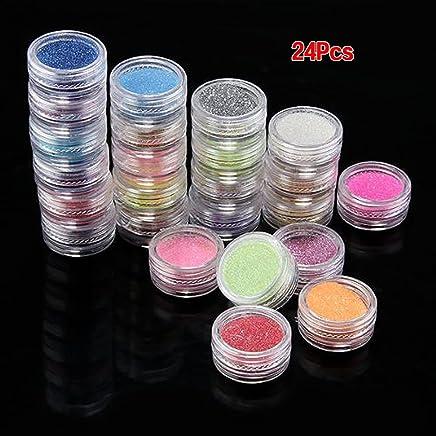 24 x Couleurs Poudre Scintillant Paillette Pour Déco Ongles Faux Gel UV Vernis