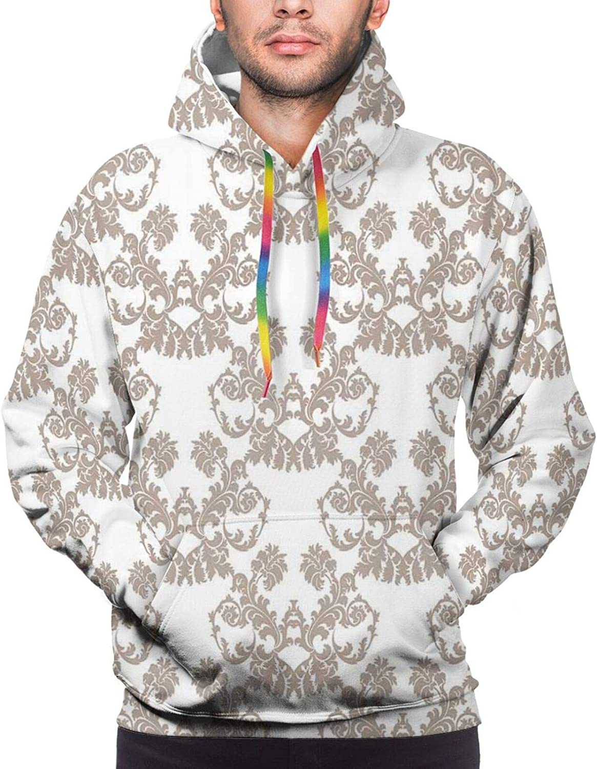 Men's Hoodies Sweatshirts,Rococo Style Flourishing Flowers Imperial Pattern Old Fashioned Classy Tile Delicate
