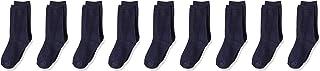 Amazon Essentials Kids' 9-Pack Light-Weight Cotton Uniform Crew Dress Sock