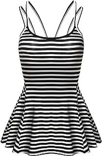 Elesol Women Summer Sleeveless Peplum Top Adjustable Strappy Cami Flare Tank Top