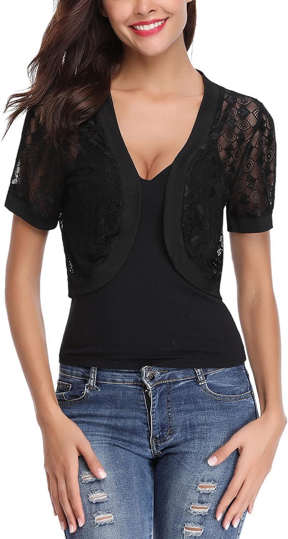 Womens Short Sleeve Bolero Shrug Summer Sheer Lace Open Front Cropped Cardigan Casual Basic Shrugs for Dresses