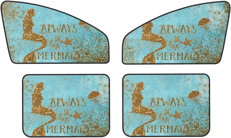Always Be A Mermaid Golden 4 years warranty Glitter Car Sun Pac Long-awaited Shade 4 Window -