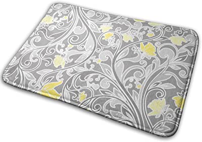 JTLCBC Retro Yellow and Gray Floral Entrance Mat Floor Mat Home Decor Carpet Indoor Rectangle Doormat Kitchen Mats