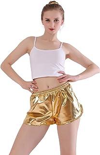 Kepblom Womens Metallic Shorts Shiny Yoga Hot Pants Casual Loose Dance Shorts