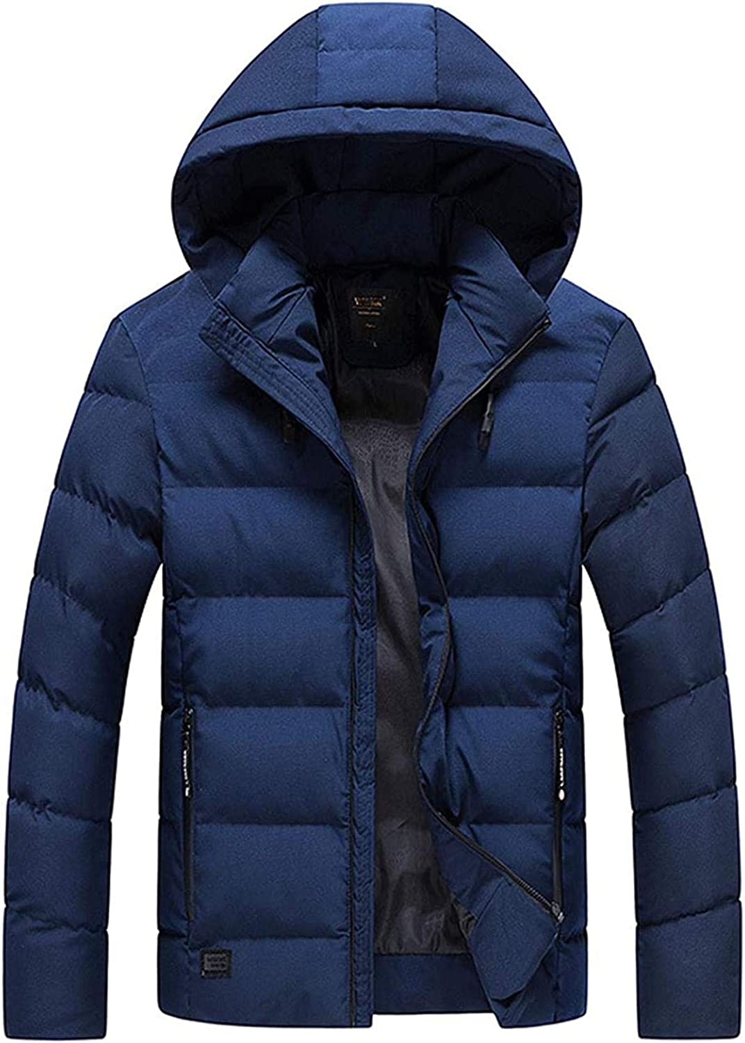 Men's Winter Thickened Quilted Lined Hooded Alternative Down Coat