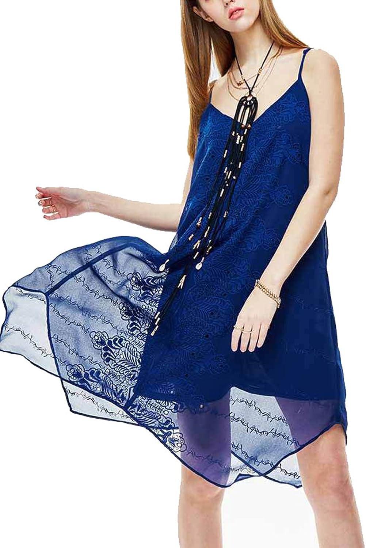 colorful House Women V Neck Spaghetti Strap Irregular Sundress Mid Length Dress