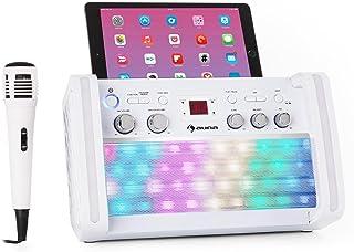 auna DiscoFever 2.0 Equipo de Karaoke - Bluetooth , Juego de Karaoke , Función Eco , Reproductor CD-/CD+G , Iluminación LED , Soporte para Tablet , Incluye Karaoke CD+G y micrófono , Blanco
