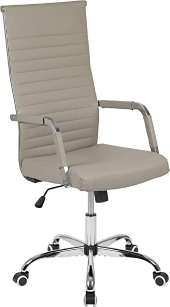 Flash Furniture High Back Tan LeatherSoft Mid Century Modern Ribbed Swivel Office Chair With Spring Tilt Control And Arm Wraps