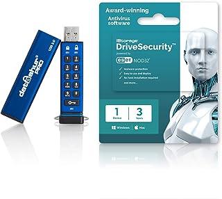 iStorage datAshur PRO 16GB Secure encrypted Flash Drive + 3yr iStorage Drive Security Antivirus Licence