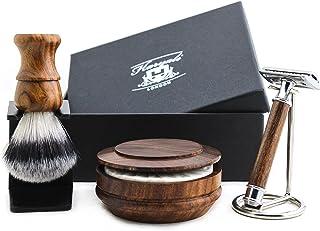 Tradycyjny zestaw maszynki do golenia z podwójnymi krawędziami - drewniany uchwyt syntetyczna szczotka do golenia z podsta...