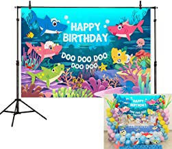 Allenjoy 7x5ft Cartoon Baby Shark Theme Backdrop Birthday Party Kids Shower Summer Undersea Coral Jellyfish Starfish Photography Background Cake Table Banner Decoration Photo Booth Studio Props