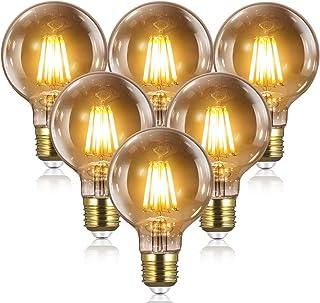 Bombillas Vintage Edison LED E27 - 8W(equivalente a 80W) 2700K / 1000LM, YUNLIGHTS 6PCS G80 Bombillas Edison Retro Filamen...