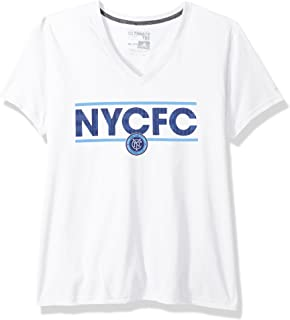 MLS Nycfc Adult Women Dassler Pattern Ultimate S/V-Neck Tee, X-Large, White
