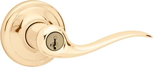 Kwikset Tustin Entry Lever featuring SmartKey in Polished Brass