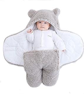 Yanding Inslagen baby sovsäck, nallebjörnsform, lämplig för 0-6 månader baby, plysch babyfiltar unisex, lätt att rengöra (...