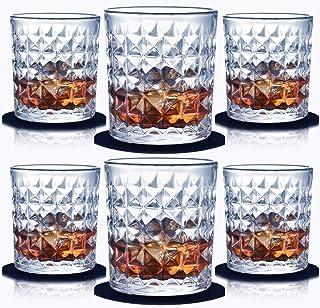 Whiskyglas Set mit 6-300 ml Glaswhiskygläsern Kristallglas Trinkgläser für schottische Bourbon-Likörcocktails mit Untersetzer und Luxusbox