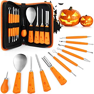 Pumpkin Carving Kit, Halloween Pumpkin Carving Tools for Adults Kids, 11 Pieces Professional Stainless Steel Pumpkin Carvi...