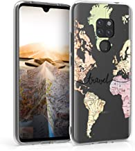 kwmobile Case Compatible with Huawei Mate 20 - Clear Case Soft TPU Phone Cover - Travel Black/Multicolor/Transparent