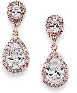 Dainty 14K Rose Gold Cubic Zirconia Halo Teardrop Pear-Shaped Dangle Earrings - Bridals & Formals