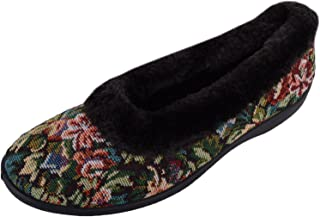 ABSOLUTE FOOTWEAR Womens Slip On Style Floral Slippers/Indoor Shoes with Warm Fur Lining