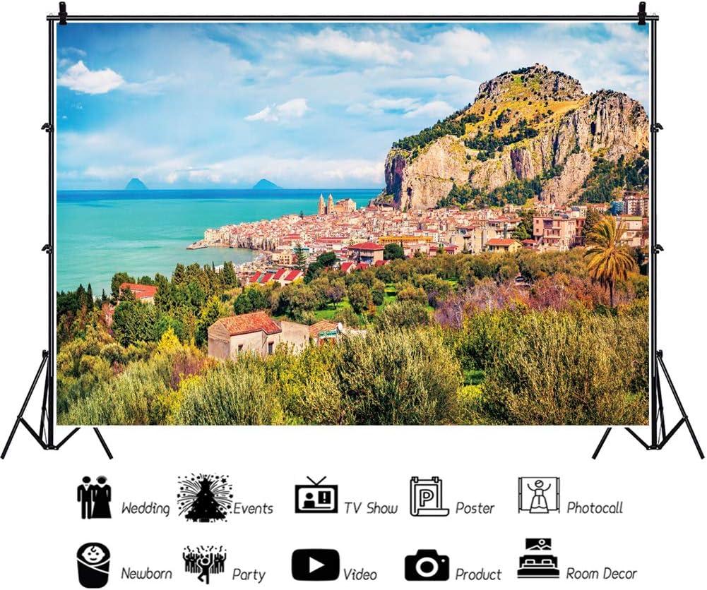 Leowefowa European Amalfi Coastal City Backdrop for Photography Vinyl 12x10ft Seaside Mountains Harbor Forest Scenic Background Child Adult Travel Shoot Bridal Party Banner Landscape Wallpaper