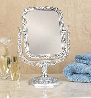Vanity Make Up Cosmetic Mirror, Two Sided Swivel with 2x Magnification, Makeup Mirror 8¾ Inch High, Silver Finish