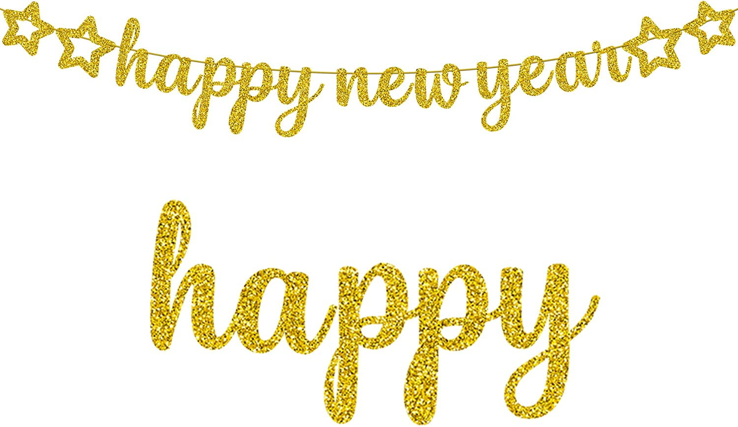 Happy New Year Banner for New Years Decorations - Gold Glitter  