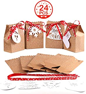 OurWarm 24pcs Christmas Gift Bags Assortment Kraft Paper Favor Bags with Holiday Gift Tags for Christmas Party Supplies, 5 x 3 x 7 Inch Christmas Goodies Bags