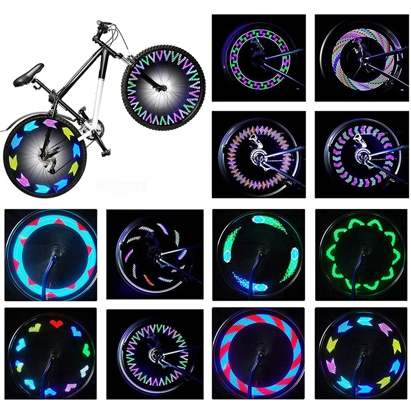 Rottay Bike Wheel Lights, Bicycle Wheel Lights Waterproof RGB Ultra Bright Spoke Lights 14-LED 30pcs Changes Patterns -Safety Cool Bike Tire Accessories Kids Adults-Visible from All Angle