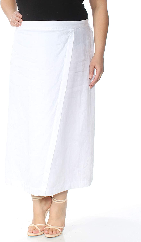 EileenFisher Organic Linen Faux Wrap Calf Length Skirt White