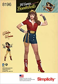 Simplicity 8196 DC Comics Women's Bombshell Wonder Women Halloween and Cosplay Costume Sewing Pattern, Sizes 14-22