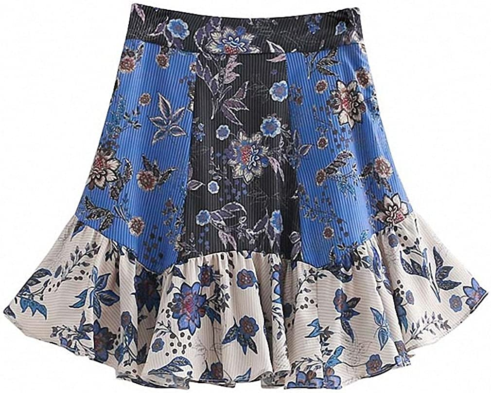 Dawery Womens Elegant Ruffled Floral Print Skirt Faldas Mujer Side Zipper Pleated Ladies Summer Casual A Line Mini Skirts