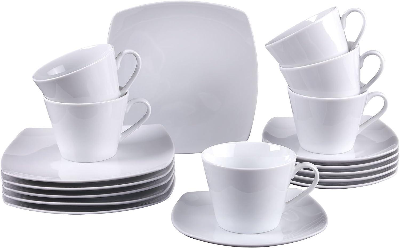Vivo by Villeroy & Boch Group Simply Fresh Kaffeeservice für bis zu 6 Personen, 18-teilig, Premium Porzellan, Wei