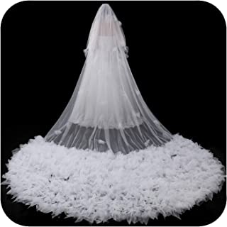 Cathedral Bridal Veils Appliques Lace Edge With Comb Long 5M Wedding,Ivory,500cm