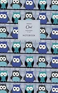 Owl Notebook - Ruled Pages - 5x8 - Premium: (Blue Edition) Bird of Prey Notebook 96 ruled/lined pages (5x8 inches / 12.7x2...