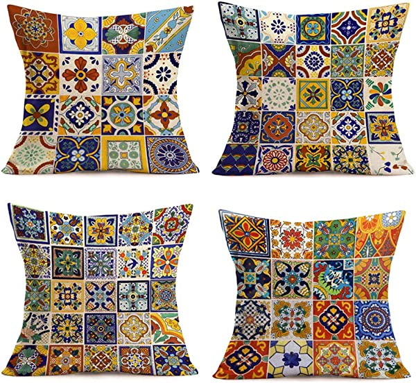 Smilyard Set Of 4 Cotton Linen Throw Pillow Covers 18X18 Inch Mexican Tiles Couch Pillow Covers Colorful Petal Design Rustic Pillowcase Tiles Cushion Cover Decor Home Sofa Mexican Tiles