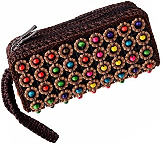 Baosity Retro Woven Beads Ethnic Long Handbag Zip Around Clutch Bags With Wristlet
