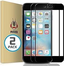 محافظ صفحه نمایش MANTO iPhone 8 Plus 7 Plus 6S Plus 6 Plus با پوشش کامل صفحه نمایش شیشه ای محافظ صفحه نمایش لبه برای لبه محافظ سازگار با iPhone 8 Plus 7 Plus 6S Plus 6 Plus 5.5 '، سیاه