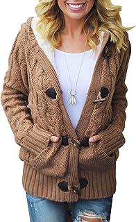 Aleumdr Strickjacke Damen Cardigan Grobstrick mit Kapuze Zopfmuster gefüttert grau Outwear Langarm für Herbst Winter grau ...