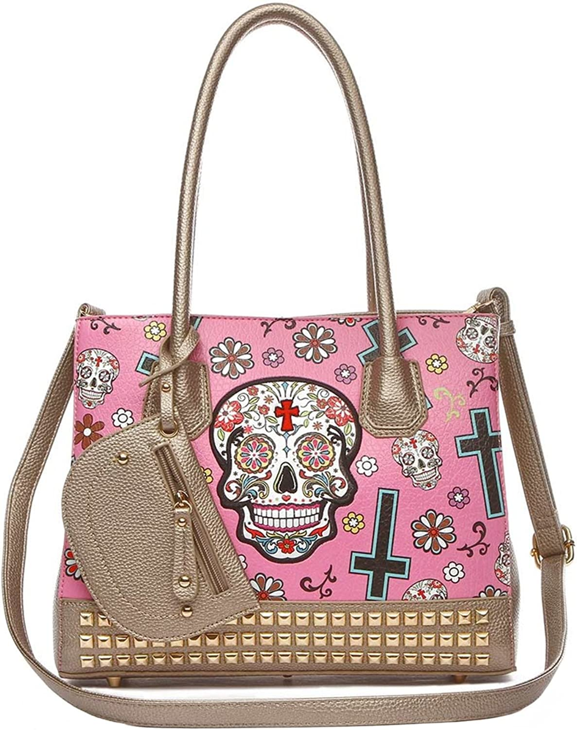 Cowgirl Trendy Sugar Skull Day of the Dead Women's Studded Purse Western Totes Handbag Shoulder Bag Pink